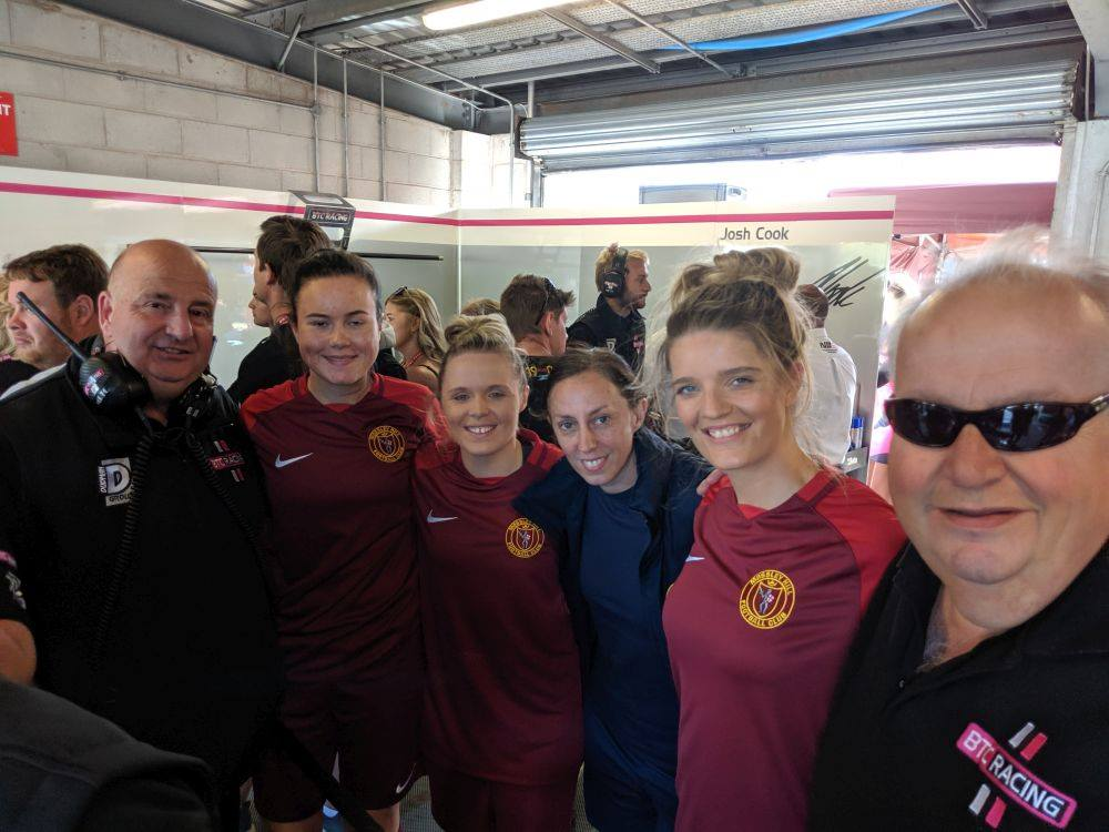 Mossley Hill Ladies in Garage at Oulton Park